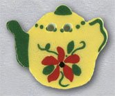 86331 - Yellow Teapot With Flower 7/8in x 3/4in - 1 per pkg